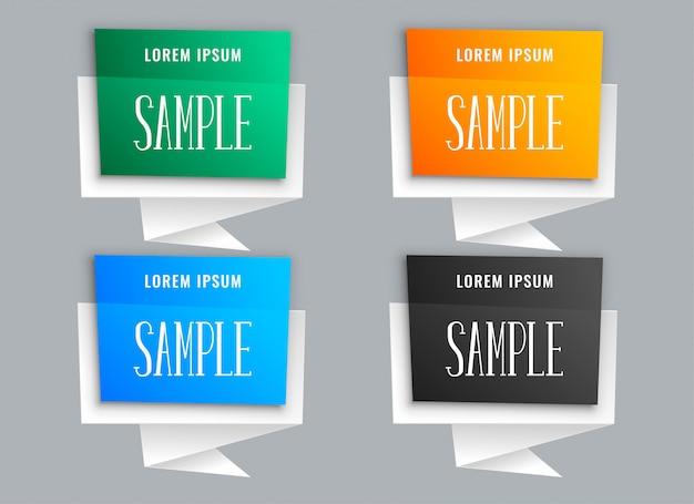 Bolle di chat in stile origami in molti colori