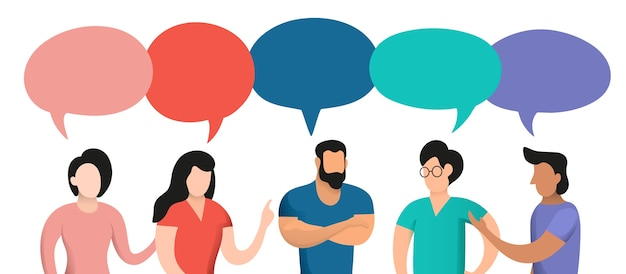 Bolle di conversazione e discorso di persone d'epoca