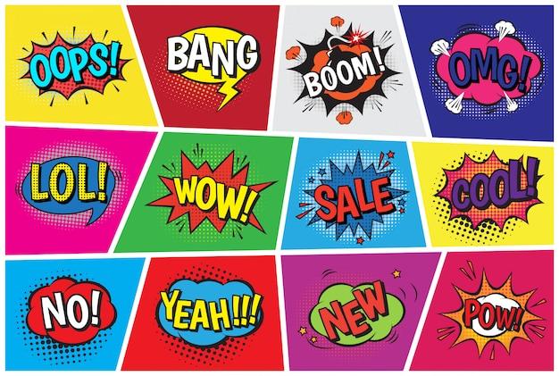 Bolle di fumetti fumetto pop art vettoriale in stile popart con boom di testo umorismo o scoppio bubbling espressione fumetti asrtistic forme set isolato su illustrazione dello spazio