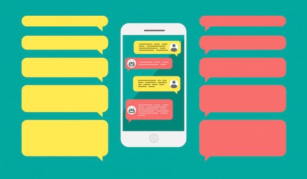 Bolle di messaggistica modello vuoto. uomo in chat con robot bot chat sul cellulare. smartphone con finestre di dialogo vuote.