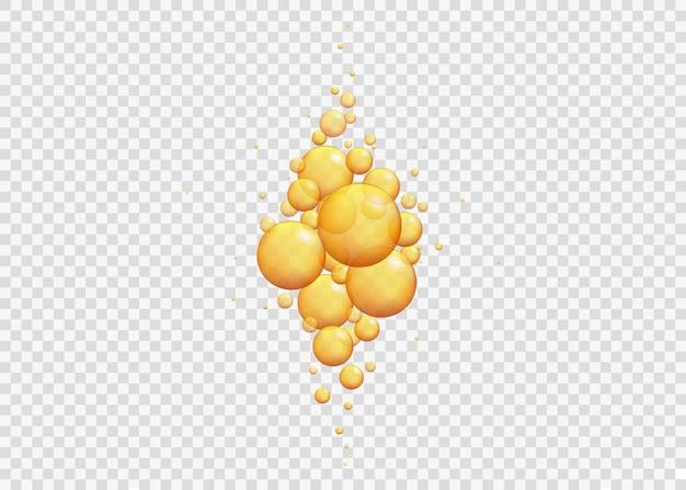 Bolle di olio d'oro. battere le capsule di collagene.