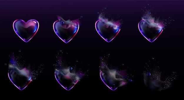 Bolle di sapone a forma di cuore scoppiano animazione sprite