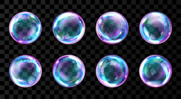 Bolle di sapone arcobaleno con riflessi