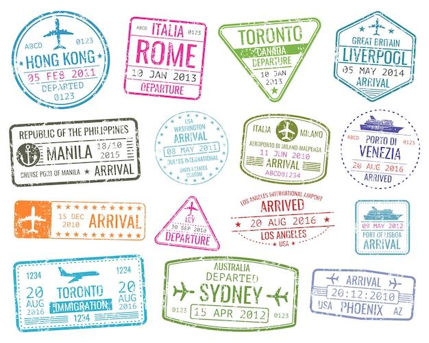Bolli di visto di viaggio di affari internazionali vector il segno di arrivi. insieme di varietà città timbro timbro malato