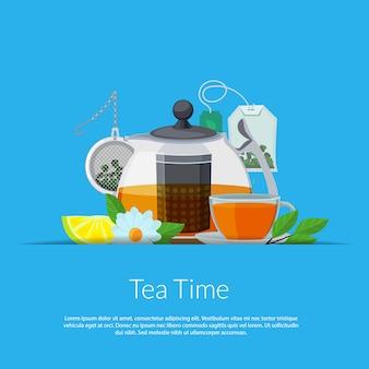 Bollitore e tazza del tè del fumetto nell'illustrazione della tasca di carta