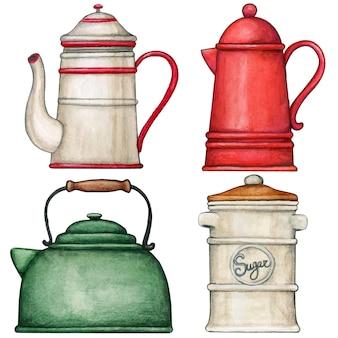 Bollitore vintage dell'acquerello e collezione di teiere e caffè con zuccheriera