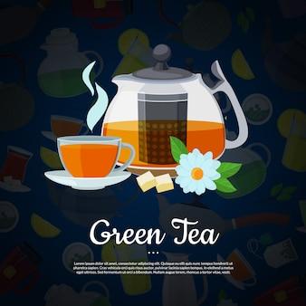 Bollitori e tazze del tè del fumetto di vettore con il modello del testo