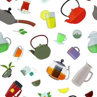 Bollitori e tazze di tè del fumetto modello o illustrazione