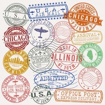 Bollo di qualità del passaporto postale di chicago illinois
