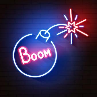 Bomba blu icona al neon incandescente