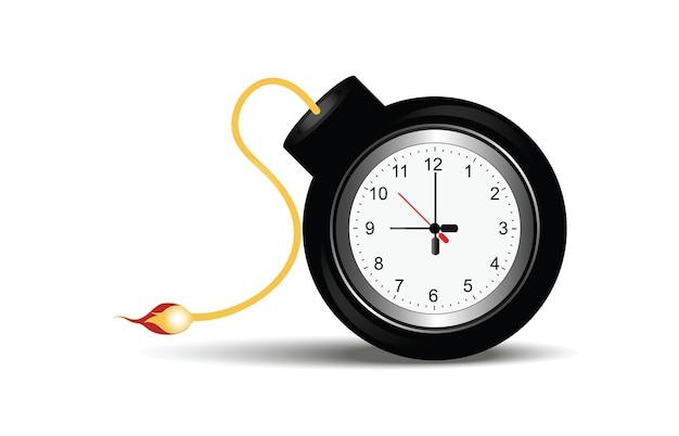 Bomba che brucia con orologio