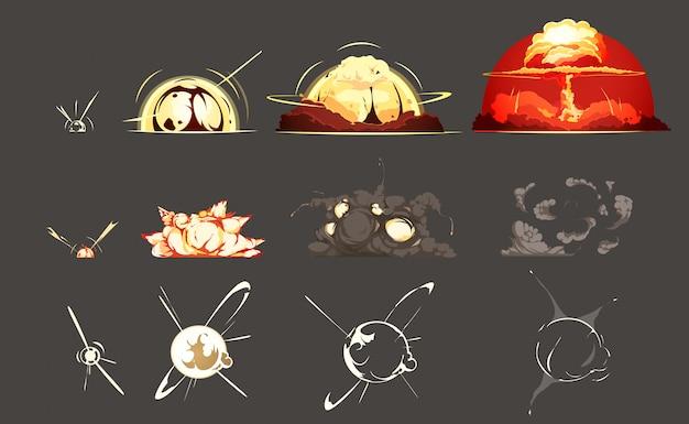 Bomba esplosione congelamento cornice immagini fisse insieme 3 set con sfondo nero retrò dei cartoni animati