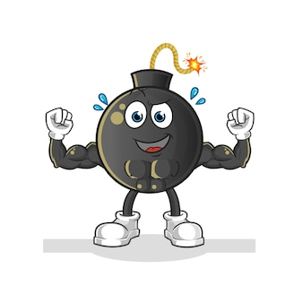 Bomba muscolare del fumetto. mascotte dei cartoni animati