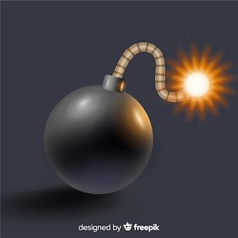 Bomba nera rotonda stile realistico