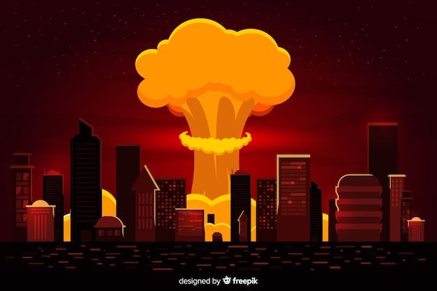 Bomba nucleare piatta in una città