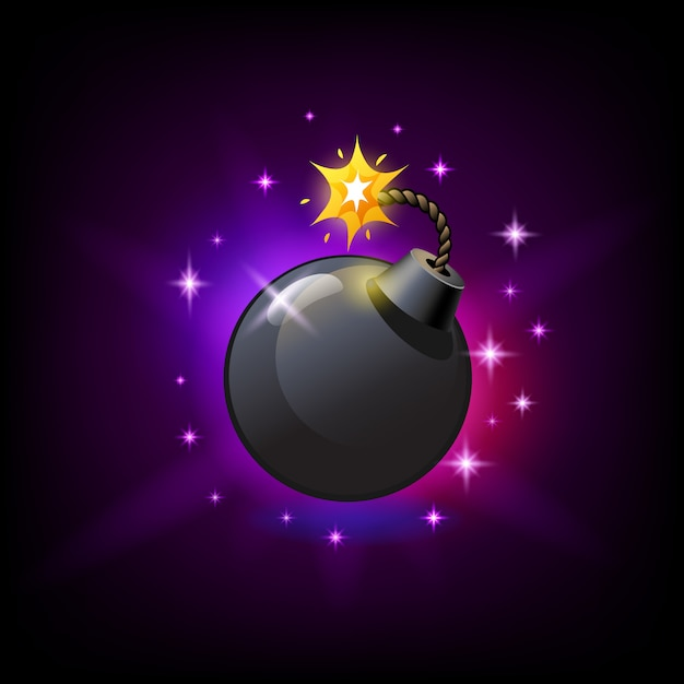 Bomba rotonda nera con icona stoppino