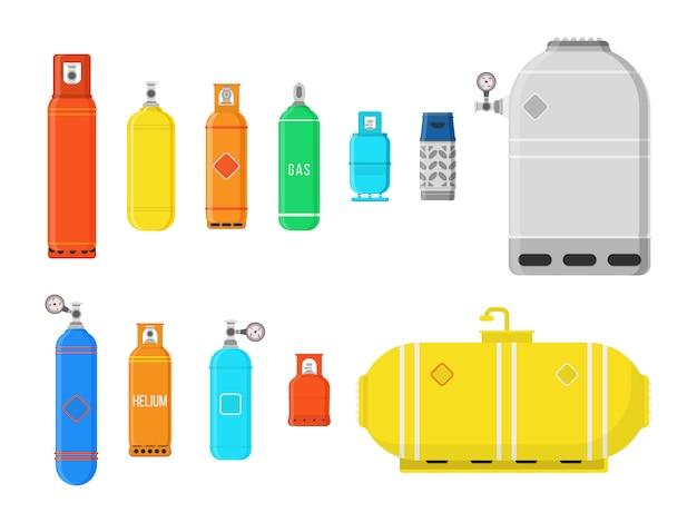 Bombole a gas differenti isolate su fondo bianco. attrezzatura da campeggio ad alta pressione per gas compresso liquefatto per lo stoccaggio di carburante.