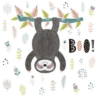Boo! carino carta con un bradipo appeso all'albero
