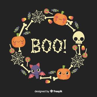 Boo! citazione con corona di ossa