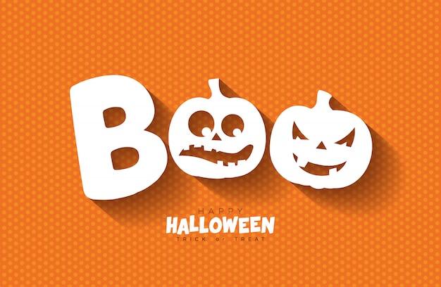 Boo. felice design di halloween con zucche di fronte spaventoso