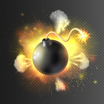 Boom bomb exploding festive poster print