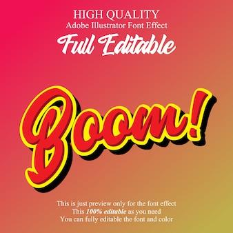 Boom cartoon effetto carattere modificabile in stile script