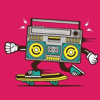 Boombox music player skateboard skateboard character design