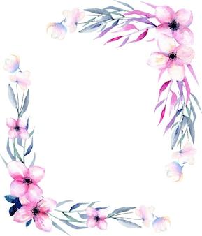 Bordi d'angolo di fiori e rami in sfumature rosa e blu