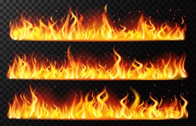 Bordi di fiamma realistici. fiamma di fuoco orizzontale che brucia, bordo rosso di fiammata ardente, set di illustrazione al tratto ardente ardente. luce di fuoco realistica, inferno di fiamma di falò