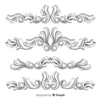 Bordi di fiori ornamentali disegnati a mano