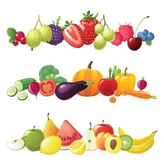 Bordi di frutta e verdura