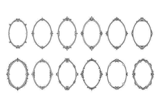 Bordi e cornici ovali antichi vintage disegnati a mano