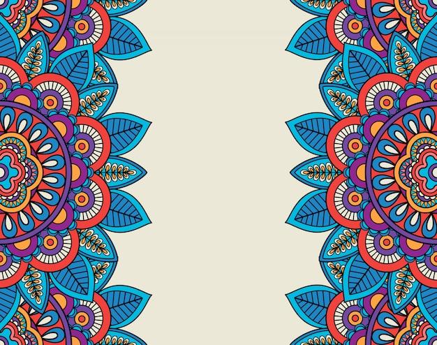 Bordi floreali di boho doodle indiano