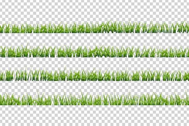 Bordi realistici isolati dell'erba per la decorazione e la copertura sullo sfondo trasparente. concetto di prato, campo e natura.