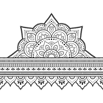 Bordi senza giunte con mandala per, applicazione di henné, mehndi e tatuaggio. motivo decorativo in stile etnico orientale, indiano. ornamento doodle. illustrazione di tiraggio della mano di contorno.