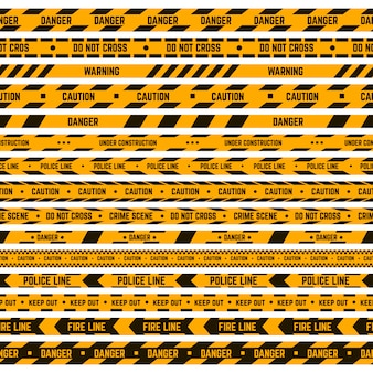Bordo a strisce di attenzione. avviso giallo, nastro nero, linea di polizia criminale, nastri a strisce di pericolo. insieme dell'illustrazione del nastro perimetrale di sicurezza. pericolo barriera, nastro di sicurezza incidente scena