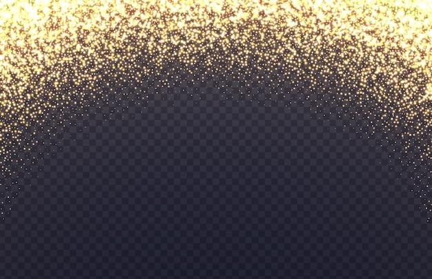 Bordo arco incandescente con scintillii. polvere dorata caduta isolata su sfondo trasparente.
