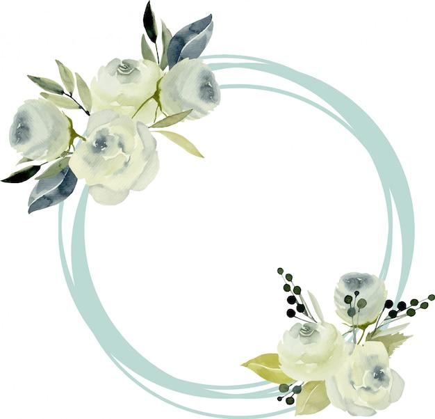 Bordo cornice rotonda con rose bianche acquerellate