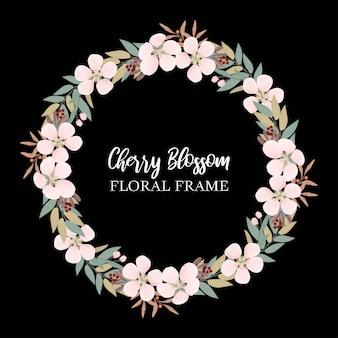 Bordo del cerchio di fiori con fiori di ciliegio e verde