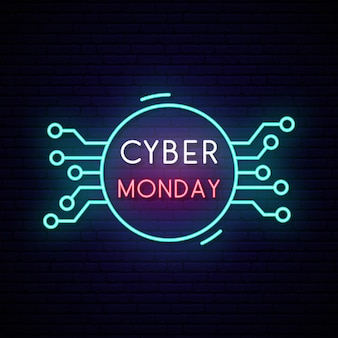 Bordo del segno al neon di cyber monday. segno di vendita brillante.