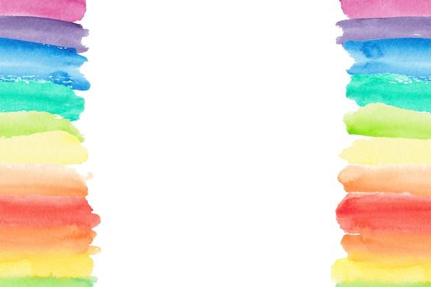 Bordo dell'acquerello arcobaleno. sfondo arcobaleno dipinto