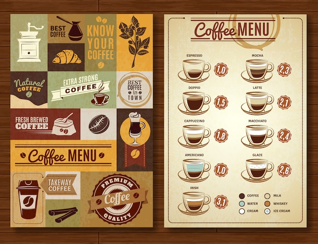 Bordo di caffè dell'annata menu 2 banner
