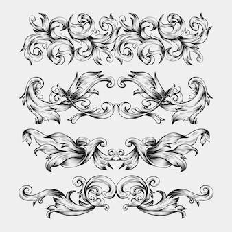 Bordo disegnato a mano realistico ornamentale