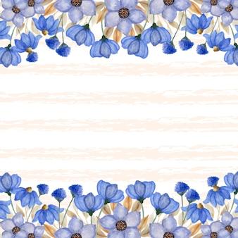 Bordo elegante fiori blu con sfondo linea astratta