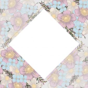 Bordo fiore, fiori viola, cornice.