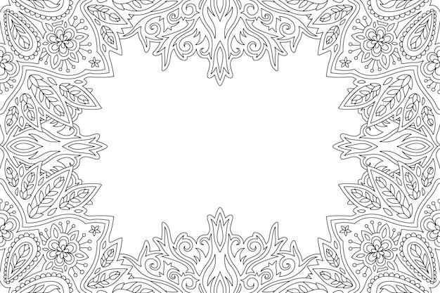 Bordo floreale lineare per la pagina del libro da colorare per adulti