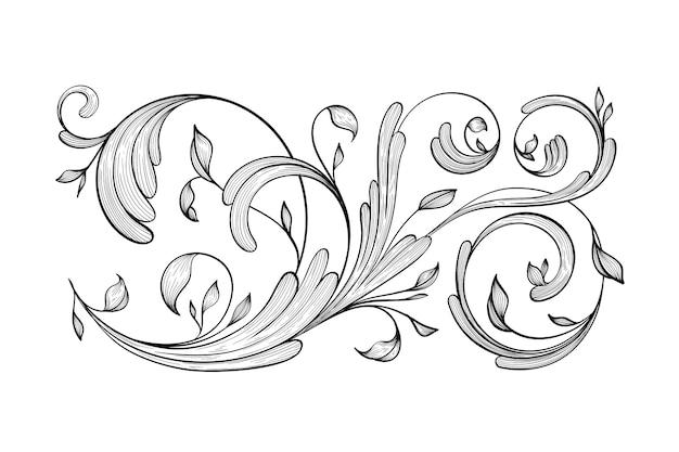 Bordo ornamentale disegnato a mano d'epoca in stile barocco