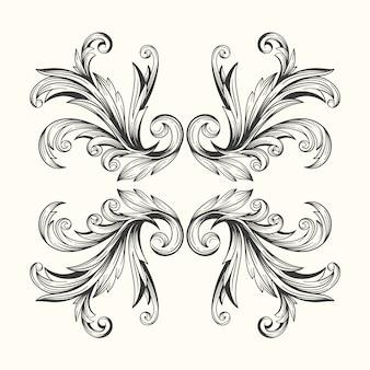 Bordo ornamentale disegnato a mano realistico stile barocco