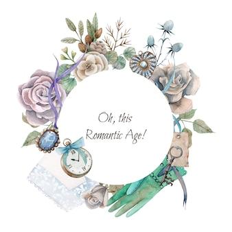 Bordo rotondo dell'acquerello disegnato a mano con elementi romantici vintage