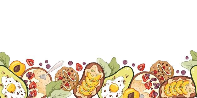 Bordo senza giunte con porridge di farina d'avena, avocado con uovo, biscotti, sandwich di frutta.